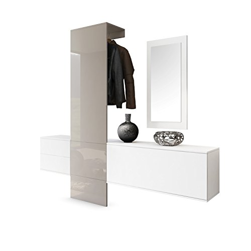 Garderobe Wandgarderobe Carlton Set 1, Korpus in Weiß matt / Paneel in Sandgrau Hochglanz