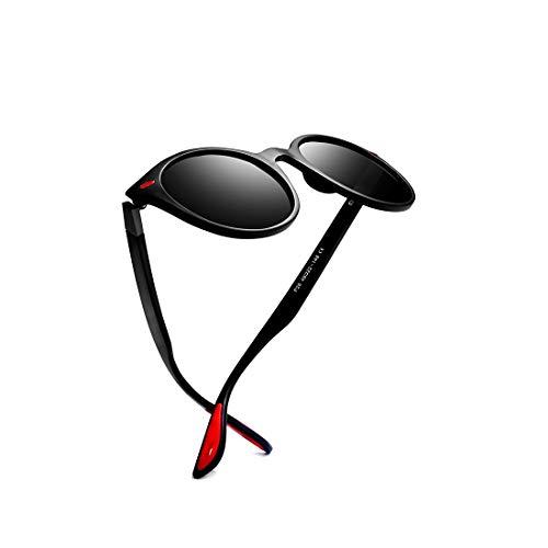 kimorn polarisiert Sonnenbrille Unisex Ovaler Rahmen Klassisch rot Gummi Brille K0625 (Matt-schwarz&Grau)