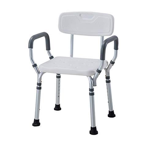 Shower Bench Duschstuhl mit Armen und Rücken, Höhenverstellbarer Badesessel, medizinisches Werkzeug-Anti-Rutsch-Bank-Badewannen-Hocker-Sitz mit höhenverstellbaren Beinen