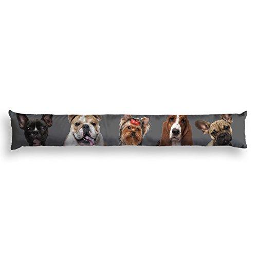 Nappes du Monde Bas de Porte Imprimé Family en Polyester Gris 85 x 15 cm