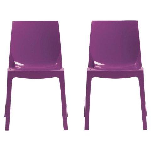 Grandsoleil dès la Glace Higlopp Chaise empilable, en Polycarbonate, Violet Brillant, 54 x 52 x 81 cm