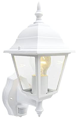 Outdoor 4 Sided White Wall Lantern Security Light Complete With PIR Motion Sensor Detector IP33 Weatherproof With Lamp