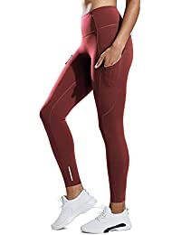 CRZ YOGA Femme Legging de Sport Fitness Taille Haute En Tissu Léger Avec  Poche 6afaa42606f