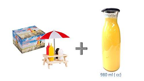 Picknicktisch Menage Set Gewürzständer Grill Tisch Ketchup Senf Pfeffer Salz Salzständer Spender Hot Dog + Karaffe 1 L, Classic Bar neu mit Silikondeckel schwarz
