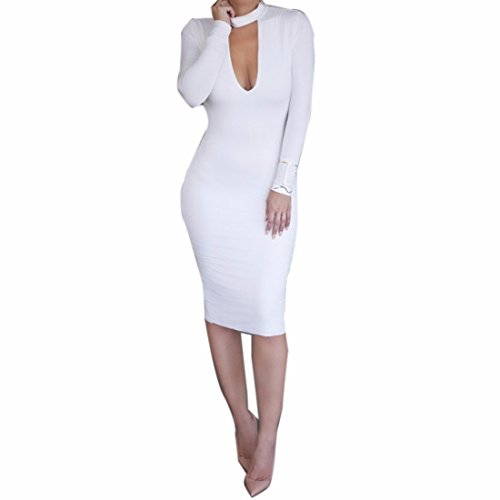 White Long Sleeve Midriff Outfit Sexy Bodycon Women Stand Collar Cocktail Dress White