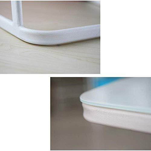 SED Multifunktions Kleine Tabelle Haushalt Snack Home Glas Holz Top Metallrahmen Sofa Side End C Förmigen Schlafzimmer Einfache Studie Tisch,Gelbe Eiche + Holz -