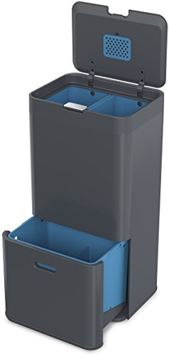 Joseph Joseph Totem 58, Abfalleimer, Mülltrennsystem, Recycling-System, 58 L, Metall, 40 x 30 x 80 cm, graphit