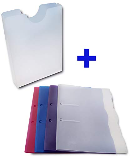 dataplus Schnellhefter + Heftbox im Set, 4+1 Stk, Ordner Mappe Sammler, Din A4, Kunststoff Plastik Polypropylen, mehrfarbig