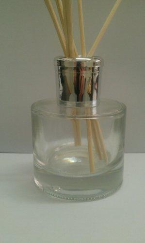1 x Alla moda Diffusore A Lamella Vetro Trasparente Olio Bottiglia 100ml.Choice di cappello - Argento
