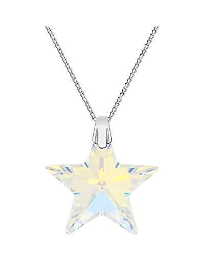 Crystals&stones - collana con ciondolo a stella originale swarovski®, 28mm, cristallo ab, con catena in argento 925, con custodia per gioielli