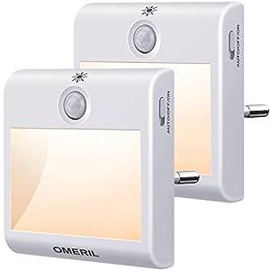Nachtlicht Steckdose mit Bewegungsmelder, OMERIL 2 Stück Steckdosenlicht 3 Modi (Auto/ON/OFF) Helligkeit Einstellbar…