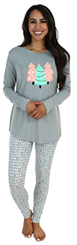 Sleepyheads Schlafanzug für Damen mit Langen Ärmeln und Leggings, Pyjama-Set, Weihnachtsbaum (SH1140-4092-EU-XL)