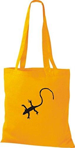 ShirtInStyle Stoffbeutel Gecko Echse Leguan Baumwolltasche Beutel, diverse Farbe yellow