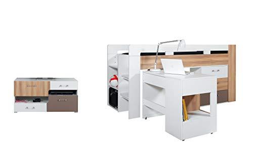 Hochbett (Ohne Matratze) mit Schreibtisch plus TV Tisch