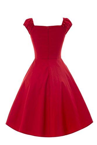 iLover rockabilly retro vintage balançoire cercle complet Robe soirée cocktail de 50 Rouge