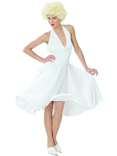 Starlet Hollywood Kostüme (Erwachsene Neckholder weiß Hollywood Starlet Damen Kostüm Sexy Marilyn Monroe-Star)