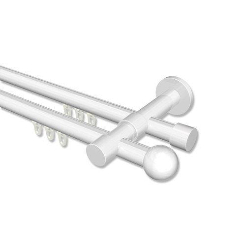 Interdeco Innenlauf Gardinenstange Weiß doppelläufig 20 mm Ø Prestige Luino, 480 cm (mittig geteilt)