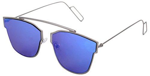 NEELKANTH Mirrored Pantos Unisex Sunglasses - (SUN001|51|Blue)