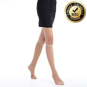 FYTTO 1007 feine Kompressionsstrümpfe 15-20 mmHg, Klasse 1, abgestufte medizinische Kompression, kniehohe Stützstrümpfe für Damen