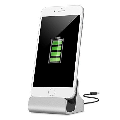 iPhone Docking Station ,YooGoal Dockingstation Ladestation für das Apple iPhone - Dock Station mit Kabel - Ladegerät für iPhone X 8 8Plus 7 7Plus 6 6s Plus 5S SE 5 iPod Nano iPod Touch - Silber (Uhren Ipod)