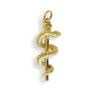 Äskulap Stab für Mediziner Charm Ketten-Anhänger massiv 14 Karat Gold 585 (Art.211032)