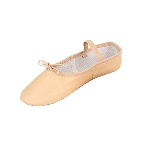 FNKDOR Mädchen Damen Rosa Leder Ballerinas Tanz Hausschuhe Ballettschuhe Ballettschläppchen Schuhe...