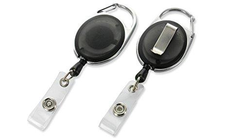 Ausweis Jojo Oval mit Schlaufenclip & Gürtelclip schwarz transparent