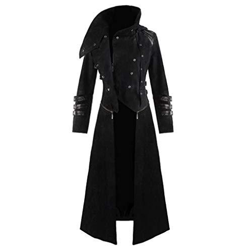 Männer Neuesten Kostüm - CICIYONER ❤Herren Party Oberbekleidung❤ Print Mantel❤ Frack Jacke Gothic Gehrock Uniform Kostüm S-XXXL (S【EU XS=Büste:43.31''】, Schwarz-neuest)