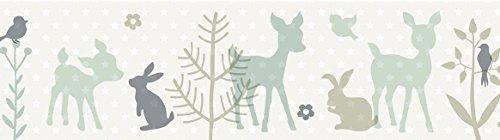 lovely label Bordüre selbstklebend HÄSCHEN & REHE MINT/GRAU/BEIGE - Wandbordüre Kinderzimmer / Babyzimmer mit Hase und Reh in versch. Farben - Wandtattoo Schlafzimmer Mädchen & Junge, Wanddeko Baby / Kinder (Baby-jungen Reh Kinderzimmer)