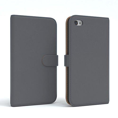 Apple iPhone 4S / 4 Tasche, EAZY CASE Book-Style Case Uni, Premium Handyhülle mit Kartenfach, Schutzhülle Geldbeutel mit Standfunktion, Wallet Case in Schwarz Anthrazit - Uni