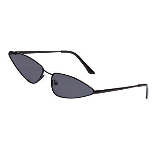 Baoblaze Feinzwirn Vintage Sonnenbrille mit trendigen Retro Brille Mini Cat Eye Designer Brillen - Schwarzes Rahmen-Grau-Objektiv