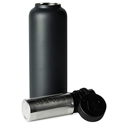 T2 Tea - Insulated Flask with Stainless Steel Infuser, Black (500ml/16.9 floz)