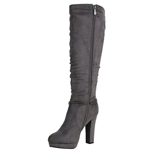 Stiefelparadies Damen Stiefel High Heels Stiletto Boots Strass Leder-Optik Schuhe Karneval Fasching Kostüm Polizistin Piratin Krankenschwester Flandell Grau Strass