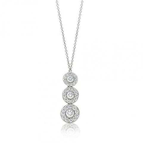 Bling Jewelry 925 Sterling Silver CZ Vintage Style Triple Circle Pendant Necklace 16in