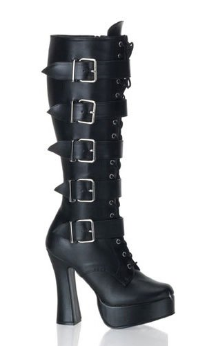 Pleaser ELECTRA-2042 Blk Faux Leather UK 10 (EU 43)