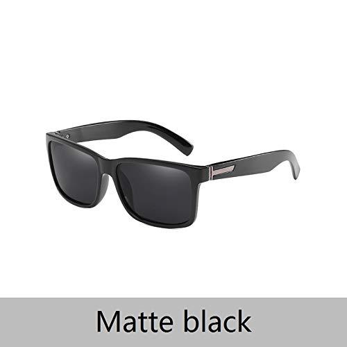 LKVNHP Neue Hochwertige Quadratische Kunststoff Sonnenbrille Frauen Mode Sonnenbrille Dame Designer Vintage Shades Driving Schatten Für AngelnMatte Schwarz
