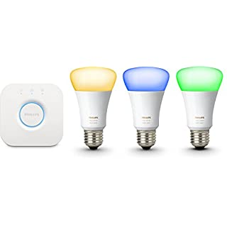 Philips Hue White & Color Ambiance E27 LED Lampe Starter Set, drei Lampen 3. Generation inkl. Bridge, dimmbar, bis zu 16 Millionen Farben, steuerbar via App, kompatibel mit Amazon Alexa (Echo, Echo Dot)