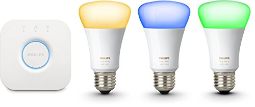 Foto Philips Hue White And Color Starter Kit con 3 Lampadine E27, 10 W + Bridge...