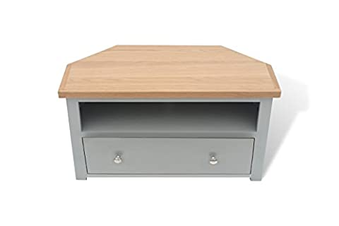 GREYSTOKE PAINTED GREY OAK CORNER TV UNIT / MEDIA CABINET