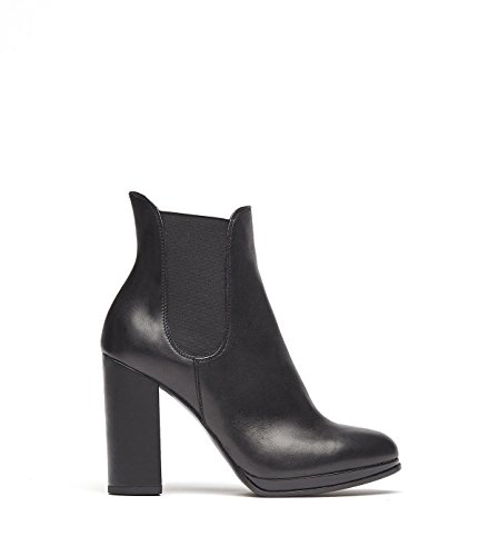 PoiLei Rena - Damen-Schuhe/Klassische Chelsea-Boot Stiefelette Aus Echt-Leder - Ankle-Boot mit High-Heel Block-Absatz - Schwarz (Boots Ankle Leder Echt)