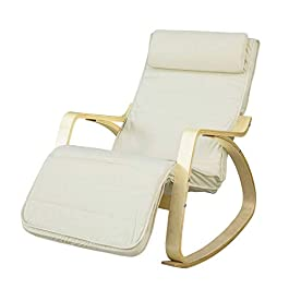 Fauteuil à bascule avec repose-pieds design, Rocking Chair, FST16