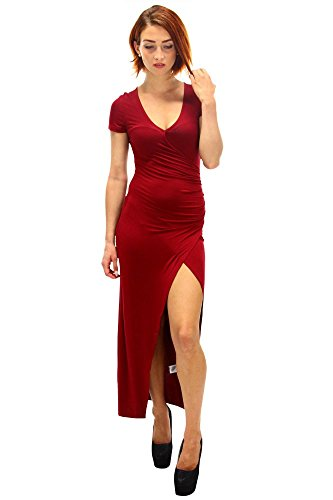 DSguided Maxikleid Wickel Optik Bandeau Kleid mit oberschenkelhohem Schlitz in 4 Farben Weinrot