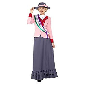 Smiffy's Deluxe Victorian Suffragette Costume, Grey & Pink, L - UK size 16-18