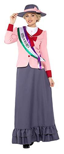 Suffragetten Kostüm - Smiffys SMIFFY 'S 47306l Deluxe viktorianischen Suffragetten Kostüm, grau & pink, L-UK Größe 16-18