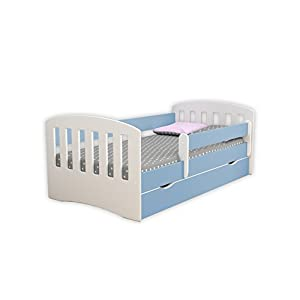 Children's Beds Home Single Bed Classic 1 - For Kids Children Toddler Junior No Mattress and No Drawers Included (Blue, 140x80)   13