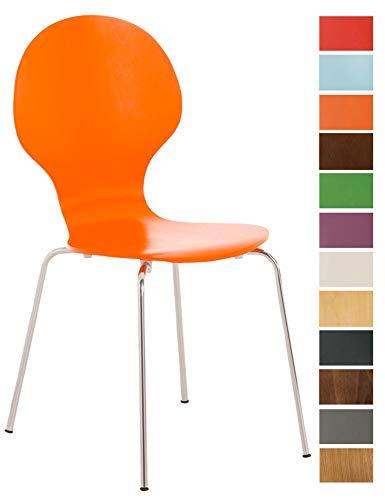 CLP Stapelstuhl Diego l Ergonomisch geformter Konferenzstuhl mit Holzsitz und Metallgestell I Stapelbarer Stuhl mit pflegeleichter Sitzfläche Orange