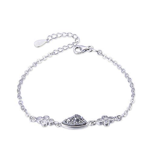 GUANHONG Kristall Zirkon Armband,Damen Armband, S925 Sterling Silber Armband Einstellbares Armband Damenmode Persönlichkeit Silberschmuck Geschenke für Mama -