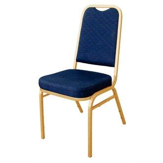 NextDay Cufflinks Catering dl015Bolero kariert Rückseite Bankett-Stuhl, blau Stoff, gold Rahmen (4Stück) -