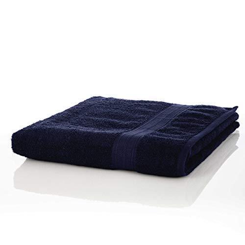 Lumaland Premium 1 Saunatuch 90 x 200 cm aus 100% Baumwolle 600 g/m² Komfortables für Damen und Herren Navy blau -