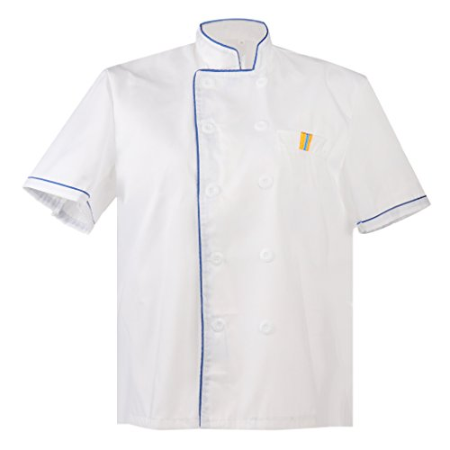 d733171f44c F Fityle Unisex Chef Abrigo Chaquetas Chefs Ropa Chefwear Restaurante  Cocinero Uniformes - Azul, XXXL